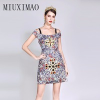 2018 Summer Fashion A Line Strapless Sleeveless Off The Shoulder Pattern Print Diamonds High Quality Above Knee Mini Dress Women