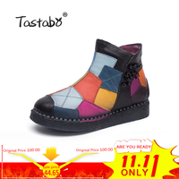 Tastabo 2018 Women Boots with Fur Winter Leather Handmade Martin Boots Flat Shoes Mulitcolor Genuine Leather Boots for Women