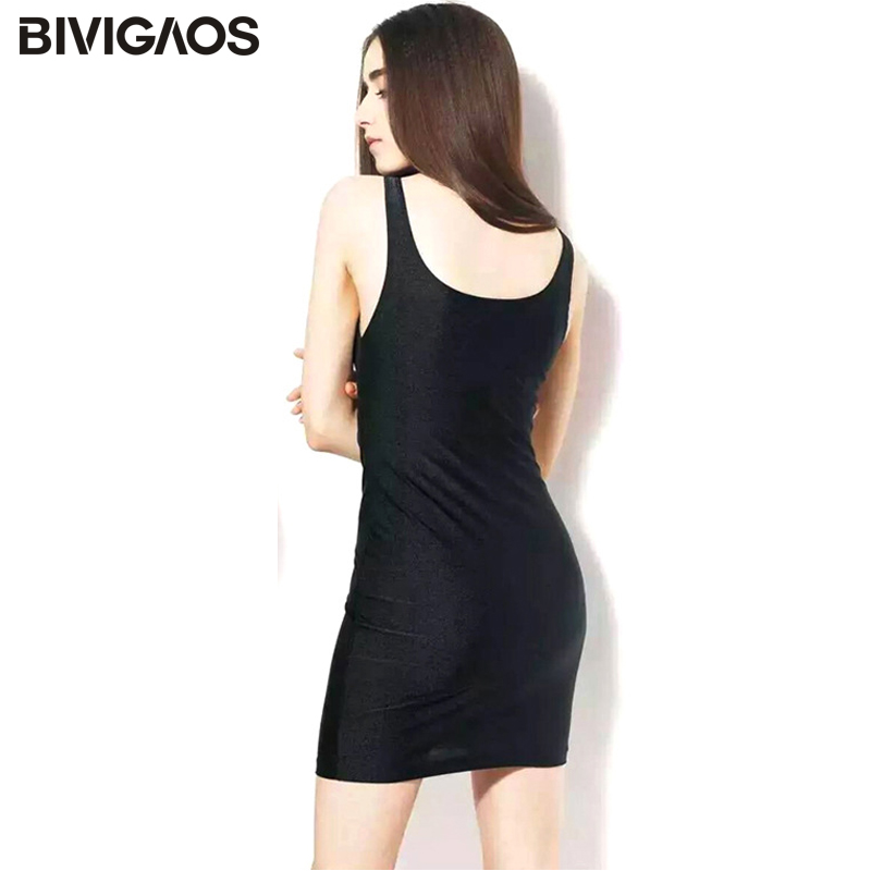 2016 Summer Women Solid Color Black Glossy Shiny Sundress Vest Dress Bodycon Sexy Dress Package Hip Elastic Slim Harness Dress