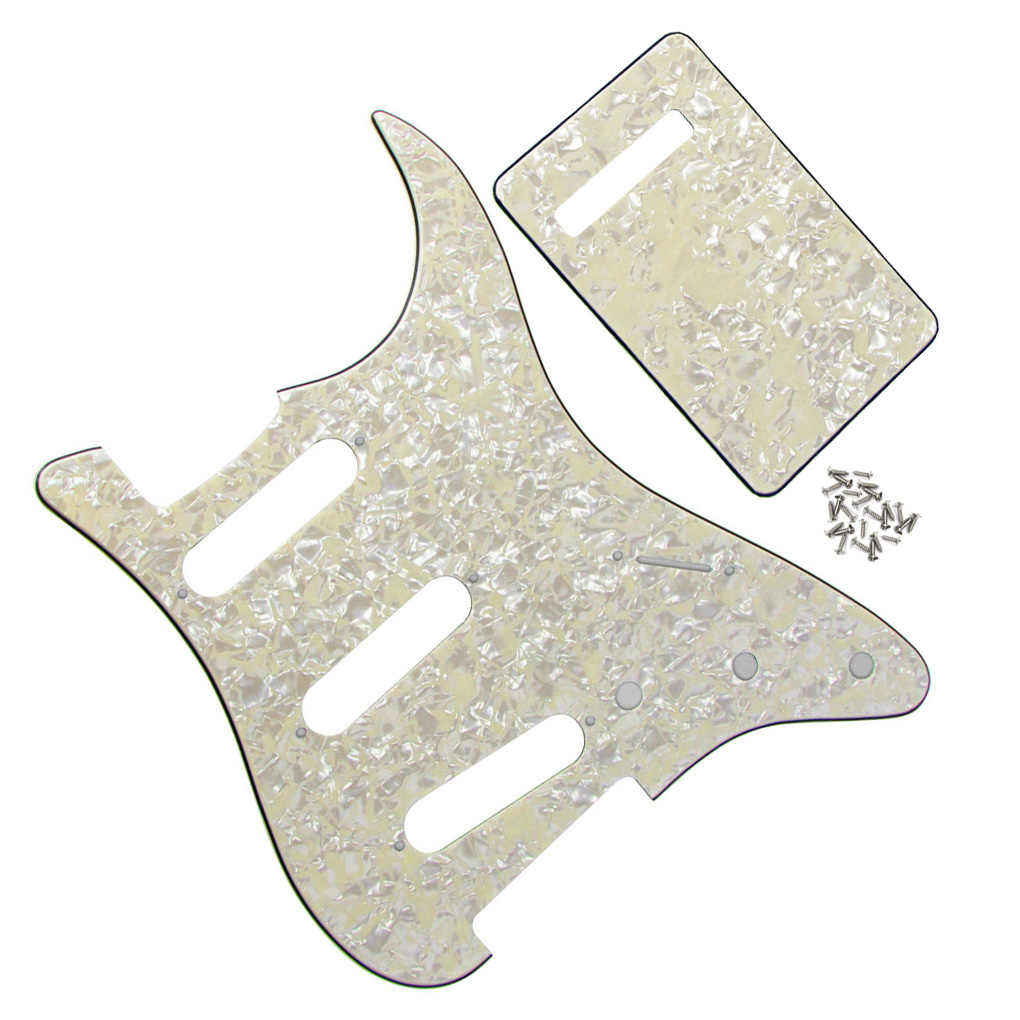 FLEOR 4Ply Aged Pearl Guitar Pickguard Strat SSS Back Plate NO Mounting Hole Accessories For Electric Guitar