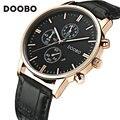 2017 marca de lujo doobo relojes cinturones de cuero de moda reloj de cuarzo reloj de pulsera militar reloj de los hombres del deporte ocasional del relogio masculino