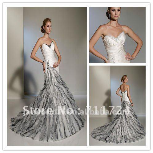 white and black beaded Mermaid corset wedding dresses-in Wedding ...
