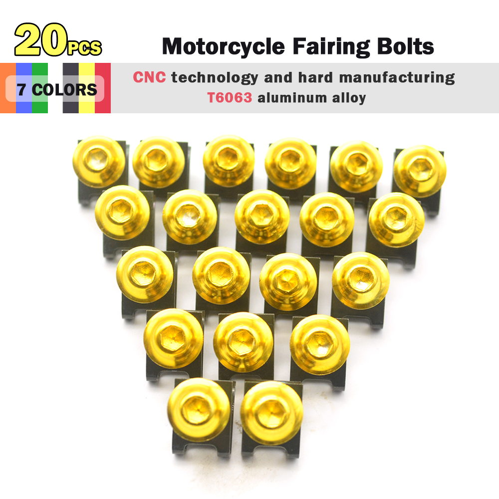 for R QIANKONG 20pcs  Motorcycle Scooters Fairing Body Bolts M6 6mm Spire Fastener Clips Screw  Nuts for HAMAHA FZS1000 FZS 1000