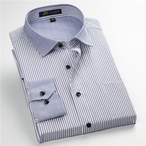Pauljones 57xx дешевый воротник дизайн с длинными рукавами для мужчин s полосатые рубашки Повседневное платье Мужская рубашка в клетку Высококачественная Мужская одежда - Цвет: 5733