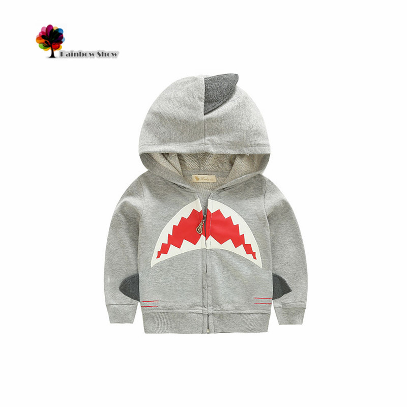 New Children Clothing Autumn Spring Boys Odd Shark Design Cardigan Cotton Sweater Kids Hoodies