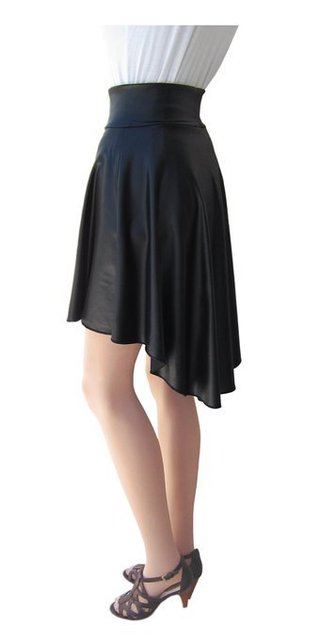d1d6f41ee95 Free Shipping Spring Summer Knee Length High Low Asymmetrical Black Faux  Leather Pleated Skirt Plus Size