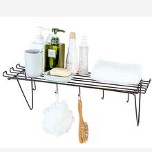बीएफ040 हुक के साथ उपयोगी स्नानघर लौह भंडारण रैक, लटकते चम्मच स्पुतुला छिद्रण मुक्त भंडारण रैक 57 * 20 सेमी