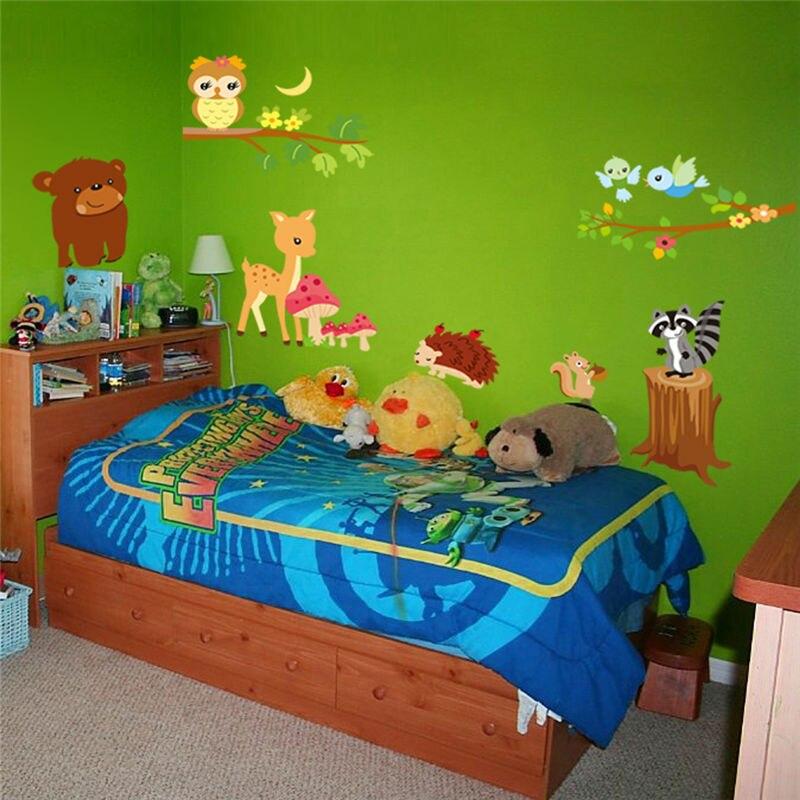 Tragen eule reh eichhörnchen vogel tier wandsticker für Kinderzimmer  dekoration cartoon wand kunst Zoo kinder wandtattoo 908 9. 3,5 in Tragen  eule reh ...