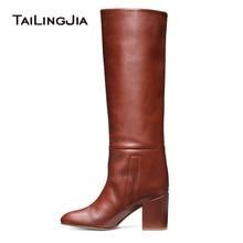 Round Toe Block Heel Knee High Boots for Women Black Mid Heel Slip on Tall Boots Ladies Chunky Winter Shoes  2018 Botas Pretas цена
