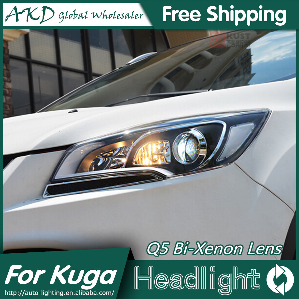 Akd car styling for ford escape headlights 2014 kuga cob design led headlight drl bi xenon