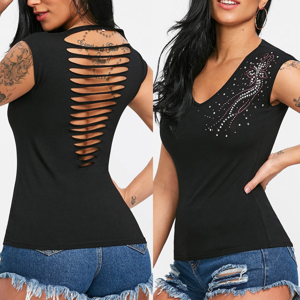 2018 Fashion Womens Sexy V Neck Rhinestone Shredded Tee   Tank     Tops   Hollow Out Vest Sleeveless hollow diamond vest