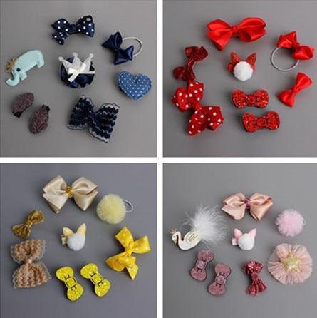 8 pcs Cute Girls Hair Accessories Set Colorful Hairpins Cartoon Character Hair Clips Bow Knot Crown Elastic Hair Band Kids