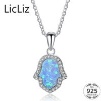 LicLiz 925 Sterling Silver Blue Fire Opal Ketting Womens Hamsahand Hanger Ketting Ketting Zirconia Solitaire Ketting LN0254