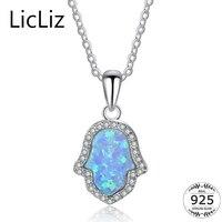 Licliz plata esterlina 925 collar de ópalo de Fuego Azul para mujer HAMSA mano COLLAR COLGANTE cadena zirconia solitario collar LN0254