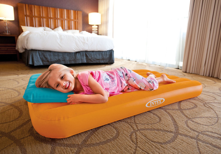 Intex Cozy Kidz Airbed Inflatable Flocked Travel Mattress Kids Bed with Pillow