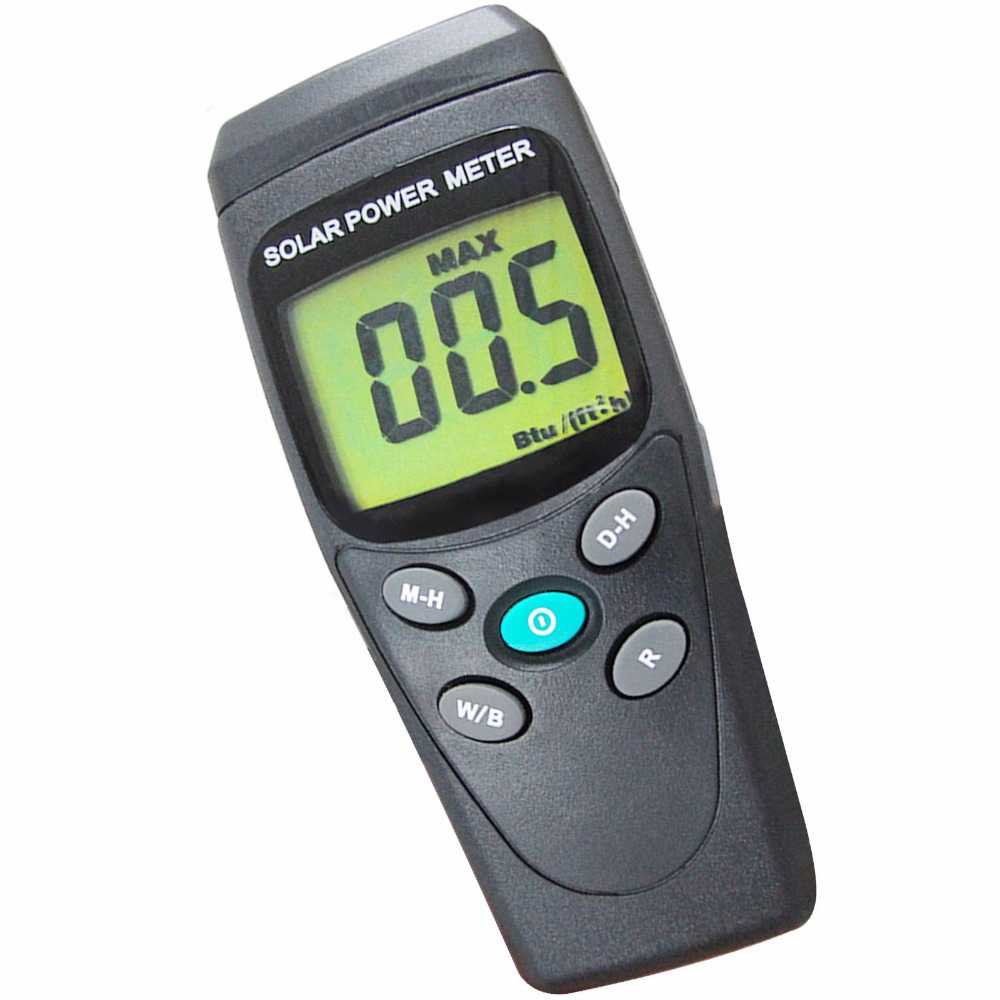 Digital Solar Power Meter BTU W/m2 Radiation Energy Cell Tester Auto Range Made in Taiwan digital indoor air quality carbon dioxide meter temperature rh humidity twa stel display 99 points made in taiwan co2 monitor