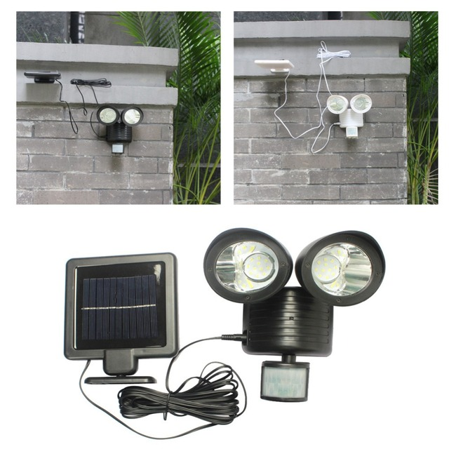 22 LED Twin Head Solar Security Light Solar Powered Outdoor LED Lighting Motion  Sensor Garden Path
