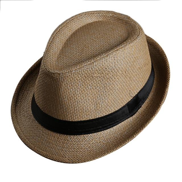 Pria Wanita Fedora Pinggiran Lebar pita Hitam patchwork topi Jerami Topi  Panama Trilby Unisex Musim Panas 8d4fb14553