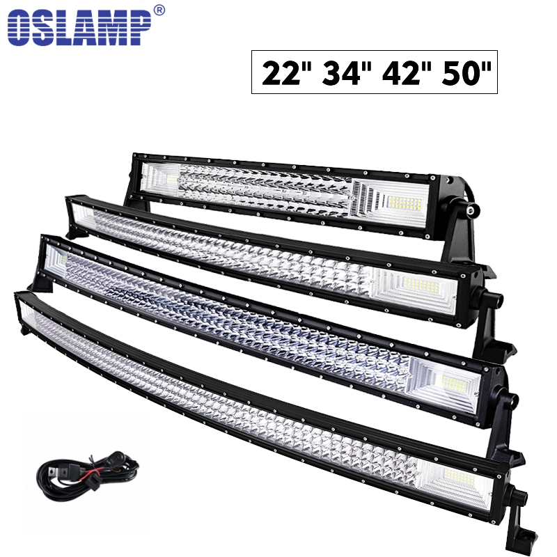 oslamp triple row 22 u0026quot  34 u0026quot  42 u0026quot  50 u0026quot  car curved work light