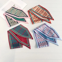 LEAYH Retro Double-sided Plaid Tie Bag Ribbons Scarves For Women Fashion Neckerchief Hair Band Silk Fabrics Skinny Scarf 85*10cm