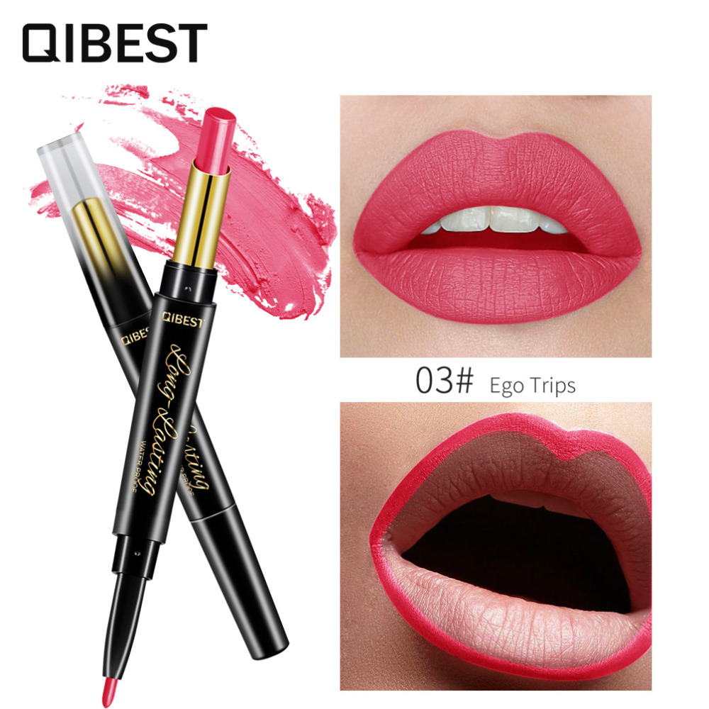 QIBEST 2 In 1 Double Head  Lip Liner Pencils Lipstick Waterproof Long Lasting moisturizing Pigments Nude Color TSLM1 1