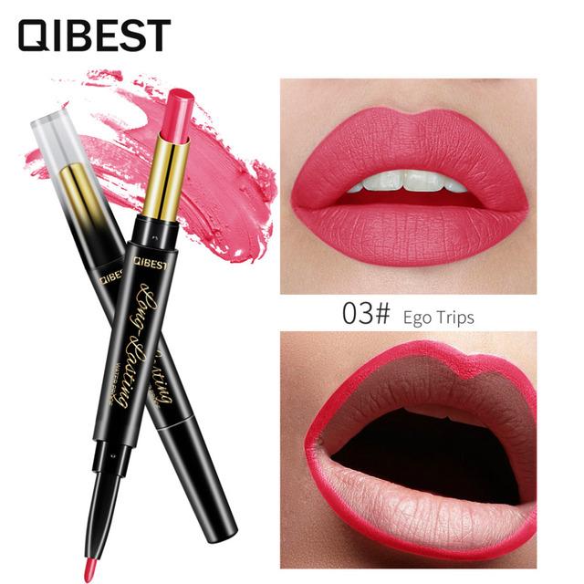 2 In 1 Double Head  Lip Liner Pencils Lipstick Waterproof Long Lasting moisturizing Pigments Nude Color