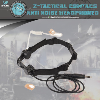 Z-tac Z Tactical Microphone Headset Ptt Z033 Hroat Mic With Adjustable Harness And Neck Strap Single Earphone For Hunting