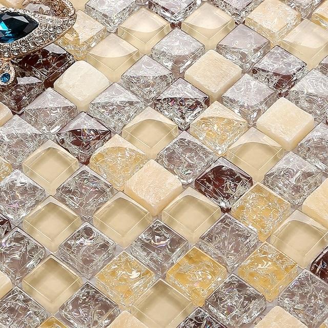 Ice crakle mosaico di cristallo piastrelle di vetro e pietra mosaico ...