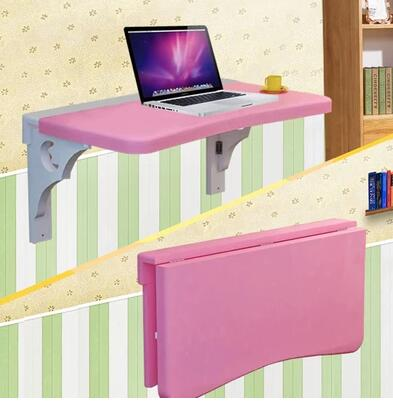 Solid wood notebook computer desk desk. Table folding lazy student dormitory desk wall painting folding wood laptop table lazy bedside table notebook computer desk