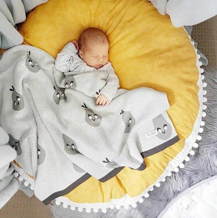Coton bébé couvertures nouveau-né 20 cm épais gland boules ramper tapis tapis enfants couverture bébé chambre décoration photographie accessoires 90 cm