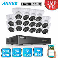 ANNKE 16CH HD 3MP CCTV System 5IN1 DVR 16PCS TVI Security Dome Camera Outdoor Weatherproof PIR Detection Motion Home Video Kit