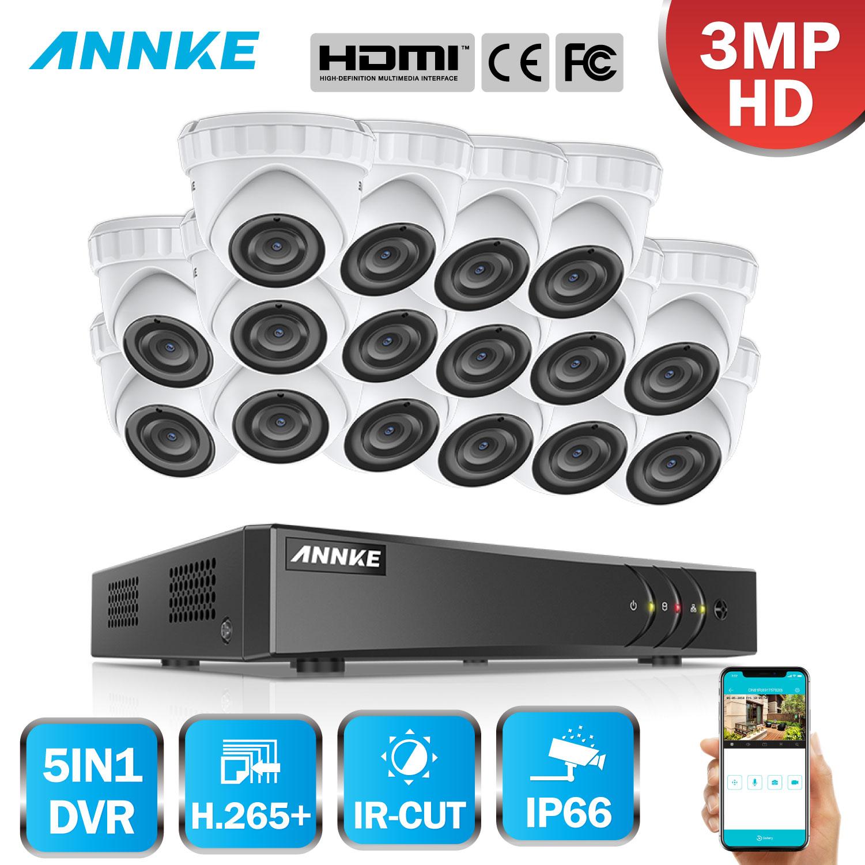 ANNKE 16CH HD 3MP CCTV sistema 5IN1 DVR 16 piezas TVI seguridad Domo cámara exterior resistente al agua PIR detección de movimiento hogar kit de vídeo