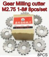 M2.75 Modulus PA20 graden NO.1-NO.8 8 stks/set HSS Versnelling frees Gear snijgereedschap Gratis verzending