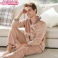 Invierno Espesar ropa de Dormir Pijamas de Los Hombres de Manga Larga Para Hombre Caliente Clásico Masculino de La Manera Botón de Coral Polar Pijama Masculino