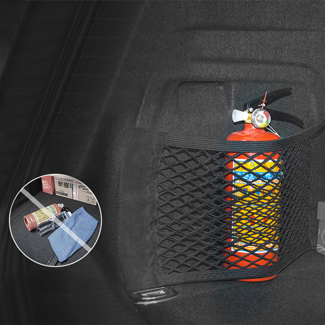 Car Trunk Organizer Mesh Net Storage Bag Nylon Seat back Pocket For Drink Goods Stickers Stowing Tidying Tools Auto Accessories