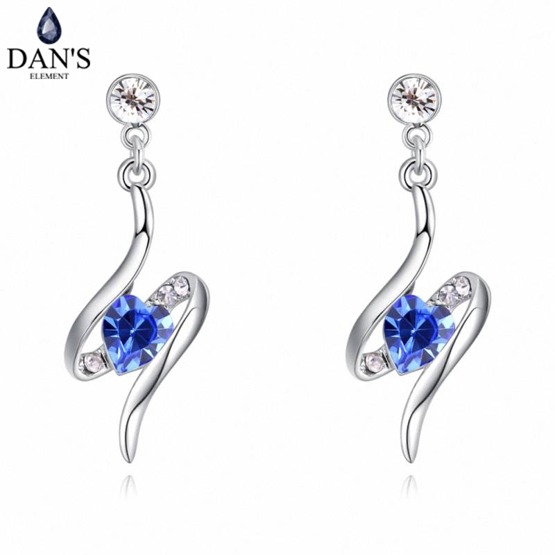 DANS 6 Colors Real Austrian crystals Stud earrings for women Earrings s New Sale Hot Round 129537