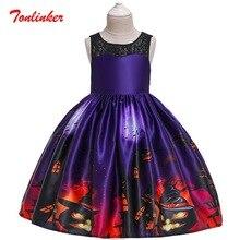 Halloween Pumpkin Demon Printing Kids Girls Fancy Dress Cosplay Carnival Halloween Costume Outfits Skirts 2 10 Years