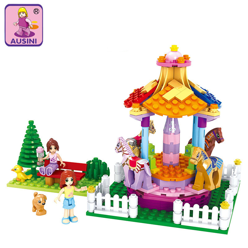 AUSINI 2017 New Dream princess Girl Building Blocks Carousel park Kids Educational Bricks Toys DIY for children