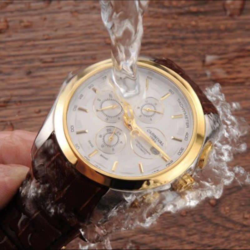 Relogio masculino جديد كرنفال ساعات أوتوماتيكية الرجال الميكانيكية على مدار الساعة حزام من الجلد مقاومة للماء 8659G ساعة معصم الياقوت