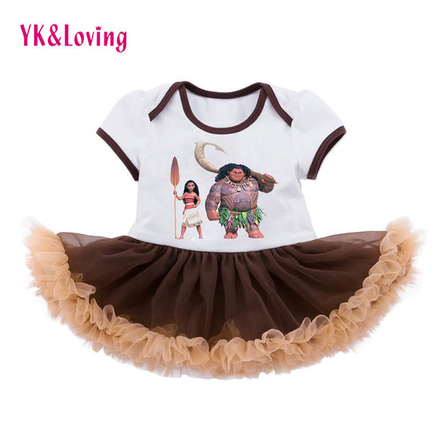 0dc6020d7 placeholder Moana Princess Girls Dress Maui Vestido Infants Clothes for  Birthday Baby Romper Brown Tutu Girl Bodysuit