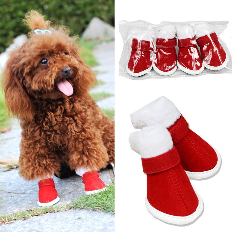New 4pcs/set Pet Dog Winter Warm Red Cute Nonslip Christmas Design Shoes Snow Boots Mascotas Cachorro Chien Perros
