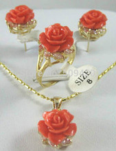 ZCD SET 320+++beautiful gold plate coral earrings pendant necklace ring(China)