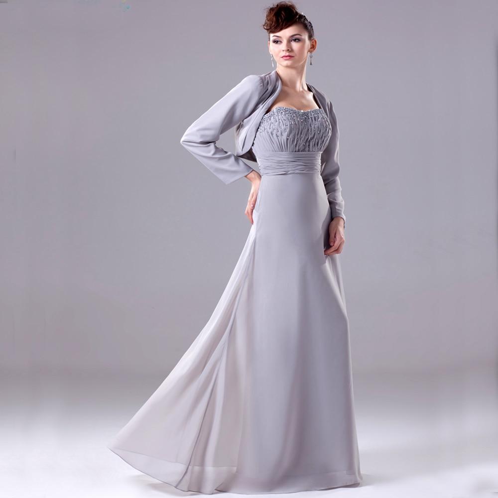 Hochzeit mutter kleider silber grau Chiffon hosenanzug perlen mutter ...