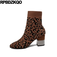 Sock Ankle Short Brand Metal Heel Boots Slip On Block Knit Women Designer Leopard Print Winter Pointed Toe Shoes High Chunky New