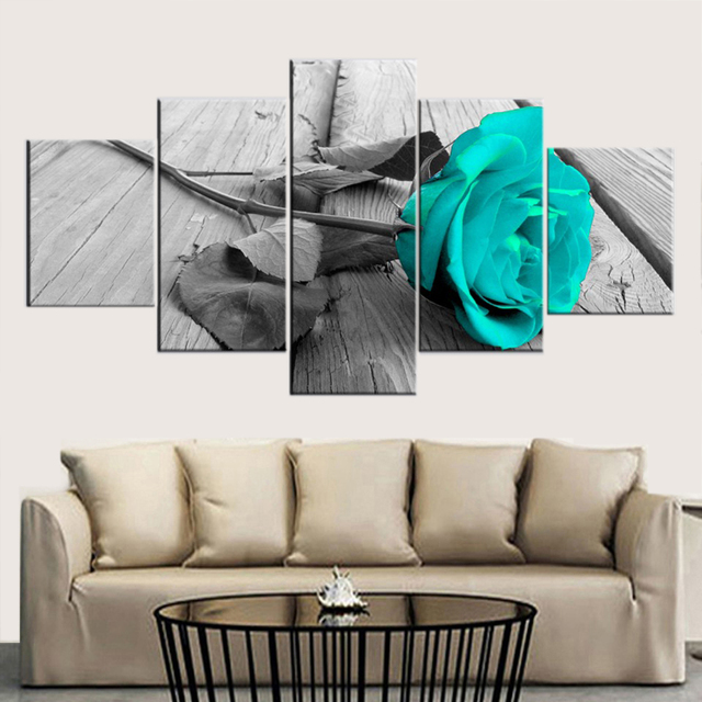 TYG HD Prints Canvas Wall Art Modular Pictures 5 Pieces Beautiful Rose Painting Poster Home Decorative For Living Room Framework
