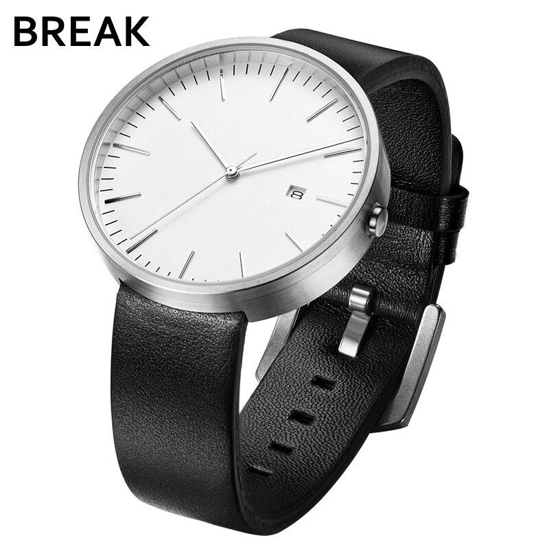 PAUSE En Cuir Mens Watch Auto Affichage de la Date Homme D'affaires Montres Mode Montre-Bracelet Étanche Mâle Horloge Relogio Masculino 1021