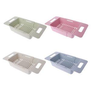Image 2 - Fregadero ajustable, estante de secado de platos, organizador de cocina, fregadero de plástico, escurridor de verduras, soporte de frutas, estante de almacenamiento