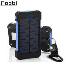 Banco de la Energía Solar Dual USB Banco de la Energía 20000 mAh Batería Externa Cargador Portátil Batería Externa para el teléfono Móvil