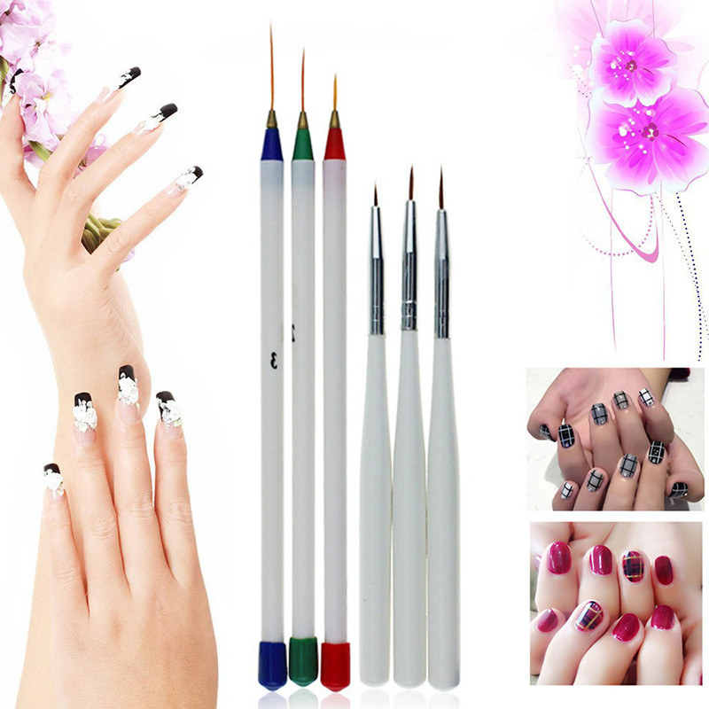 Hot Sale 3pcs Nail Art Tips Tools DIY Nail Dotting long hair liner drawing Brush Nail Art Pen kit ...