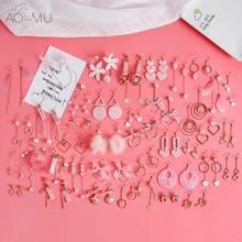 608e392c284 AOMU Япония корейский розовый милый натуральный камень Бусины Мех животных  звезда луна сердце акриловые сережки серьги для девоч.